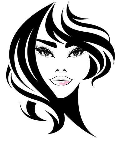 Bella dama con cabello largo en fondo blanco.