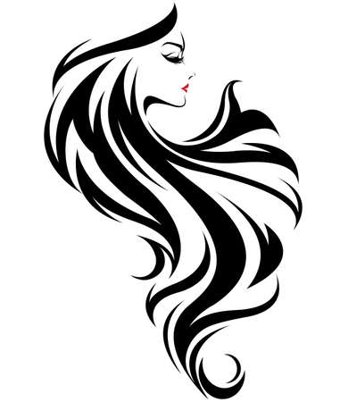 Beautiful women, logo women face makeup on white background, vector Stock Illustratie