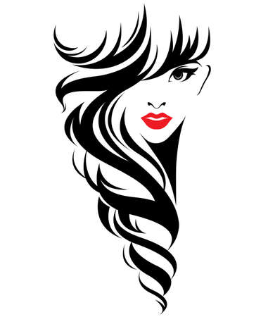 Beautiful women, logo women face makeup on white background, vector 向量圖像