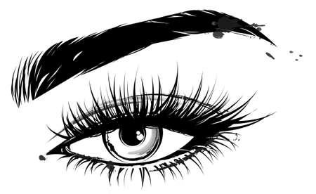 Ilustración de maquillaje de ojos y cejas sobre fondo blanco.