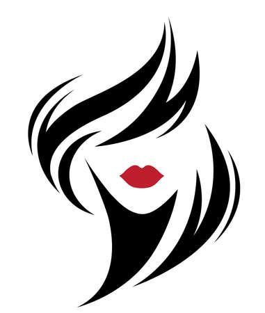 Illustration der Frauen kurze Frisurikone, Logo Frauengesicht auf weißem Hintergrund, Vektor