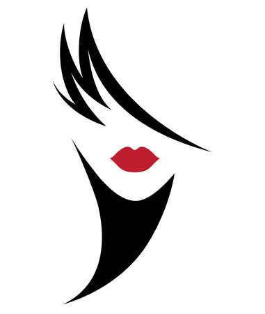 illustration of women short hair style icon, logo women face on white background, vector Logo