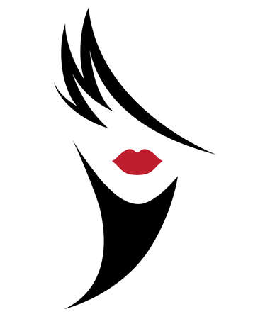 Ilustración del icono de estilo de pelo corto de mujer, logotipo de cara de mujer sobre fondo blanco, vector Logos