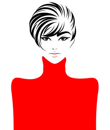 illustration of women short hair style icon, logo women face on white background, vector Vectores