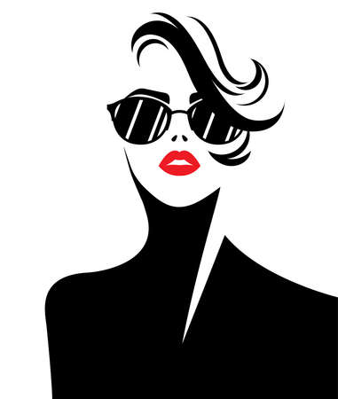 illustration vector of women silhouette icon, fashion style on white background