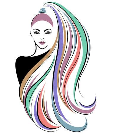 illustration de l & # 39; icône de style de cheveux longs femmes, logo femmes sont confrontées sur fond blanc, vecteur