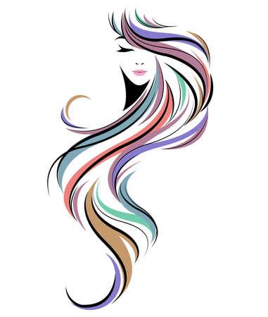 Frauen lange Frisur Ikone, Logo Frauen Gesicht auf weißem Hintergrund Logo