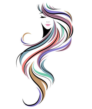 Vrouwen lang haar stijlicoon, logo vrouwen gezicht op witte achtergrond Stockfoto - 106494240