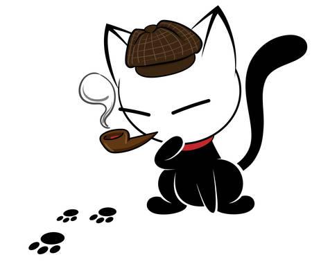 Illustrationen des Katzenaktionslogos auf weißem Hintergrund, Tiervektor des lokalisierten netten Katzensymbols