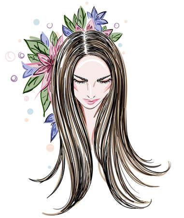 Beautiful women, women face makeup on white background, vector Illustration