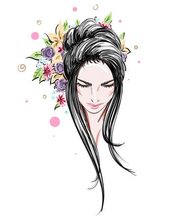 Beautiful women, women face makeup on white background, vector Ilustração