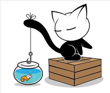 Illustrations of cat action on white background, Animals vector of isolated a cute cat icon