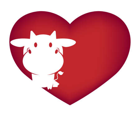 Illustrations of cow action on white background, Animals vector of isolated a cute cow icon