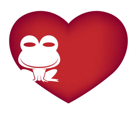 Illustrations of frog action logo on white background, Animals vector of isolated a cute frog icon Çizim