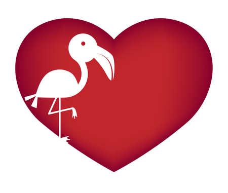 Illustrations of flamingo action logo on white background, Animals vector of isolated a cute flamingo icon Illustration