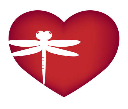 Illustrations of dragonfly action logo on white background, Insect vector of isolated a cute dragonfly icon