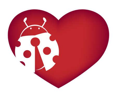 Illustrations of ladybug action logo on white background, Bug vector of isolated a cute ladybug icon