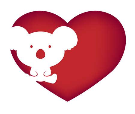 Illustrations of koala action logo on white background, Animals vector of isolated a cute koala icon Çizim