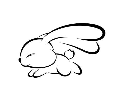 Illustrations of rabbit action logo on white background, Animals vector of isolated a cute rabbit icon Illustration