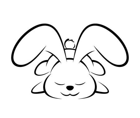 Illustrations of rabbit action logo on white background, Animals vector of isolated a cute rabbit icon Çizim
