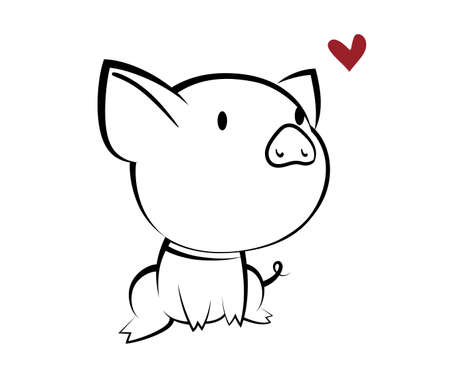 Illustrations of pig action logo on white background, Animals vector of isolated a cute pig icon