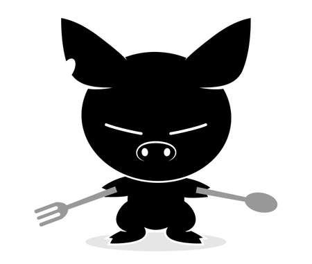 Illustrations of pig action logo on white background, Animals vector of isolated a cute pig icon Imagens - 125665547