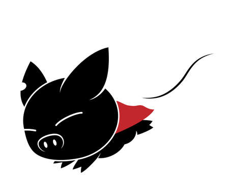 Illustrations of pig action logo on white background, Animals vector of isolated a cute pig icon Imagens - 125665549