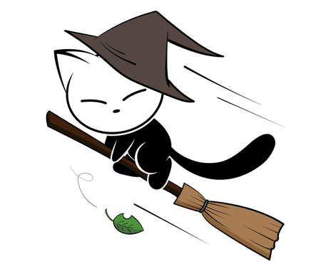 Illustrations of witch cat action on white background, Animals action vector. Иллюстрация