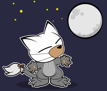 Illustrations of werewolf cat action on white background, Animals action vector. Иллюстрация