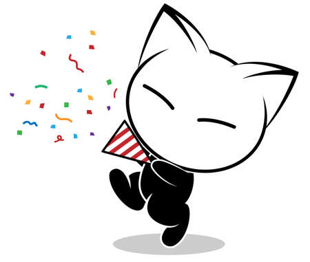 Cat action illustration on a white background. Animal action vector.