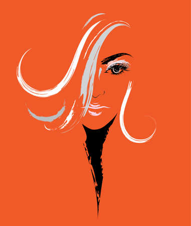 illustration of women long hair style icon, women on orange background, vector