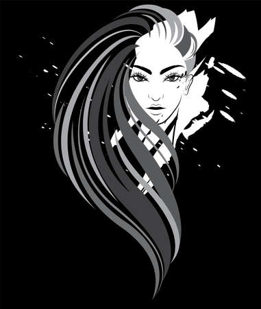 illustration of women long hair style icon, women on black background, vector
