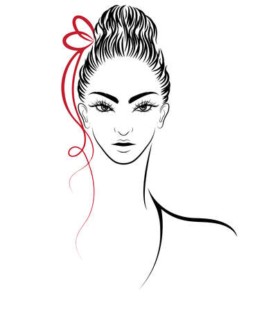 illustration of women bun hair style icon, women on white background, vector
