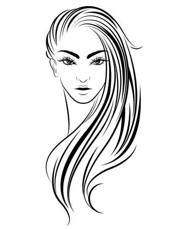 women long hair style icon,  woman on white background