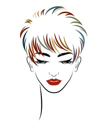 women short hair style icon, women on white background