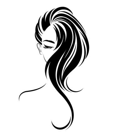 illustration of women long hair style icon, women on white background, vector