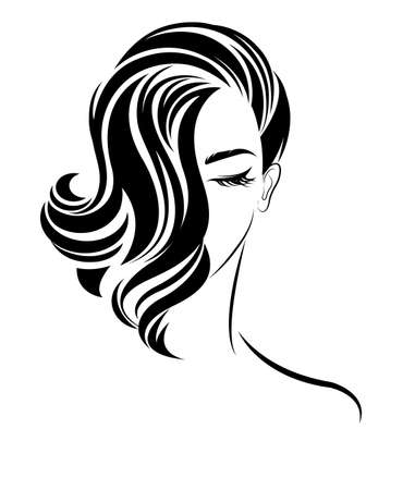 illustration of women short hair style icon, women on white background, vector 向量圖像