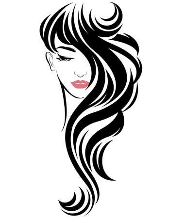 Illustration der langen Frisurenikone der Frauen, Logofrauen auf weißem Hintergrund, Vektor Logo