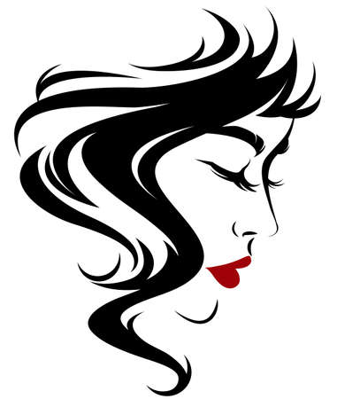 women shot hair style icon, logo women on white background 向量圖像
