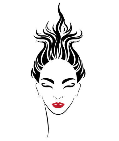 illustration of women shot hair style icon, logo women on white background, vector 向量圖像
