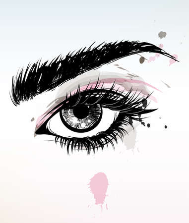 illustration vector of beautiful eye makeup and brow