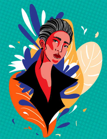 Colorful woman retro art style vector illustration design.