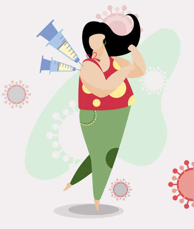 Vaccination of woman against virus vector illustration