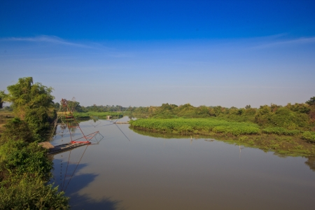 fisheries: Freshwater fisheries  Thailand is the occupation of the mother along with local water Stock Photo