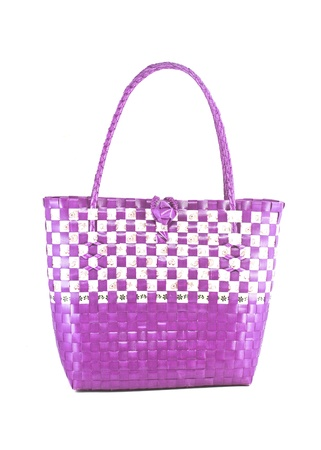 hand craft plastic basket isolated white Stock Photo - 17337617