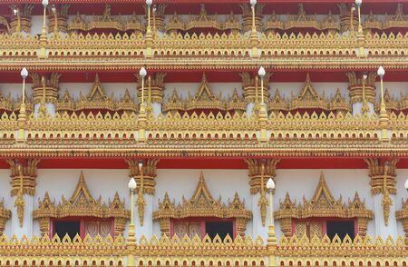 Golden pagoda at the temple window in Thailand, Khon Kaen, Thailand  Stock Photo