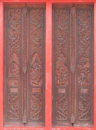 The doors are made of wood, Thailand, Khon Kaen, Thailand