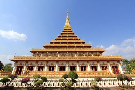 khon: top of golden pagoda at the Thai temple, Khon kaen Thailand Stock Photo