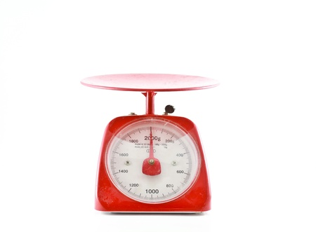 weight measurement balance isolated white background  Stock Photo