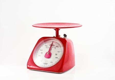 weight measurement balance isolated white background  Stock Photo